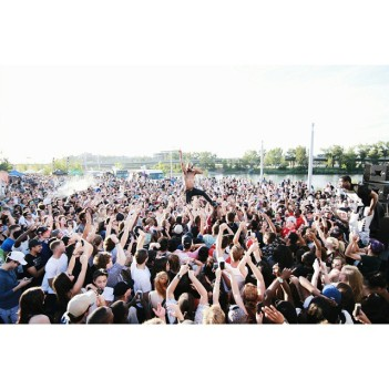 Tory Lanez crowd-surfing at the East Village Block Party, yesterday.